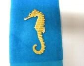 Seahorse fingertip towel vintage applique aqua ocean animal