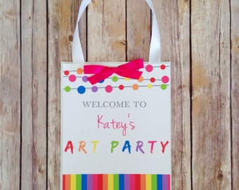 printable art party door sign, custom digital art party sign, personalized welcome art party birthday sign