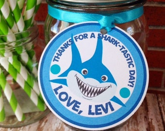 shark birthday tags, shark hang tags, custom shark-tastic party tags, blue birthday hang tags--set of 12