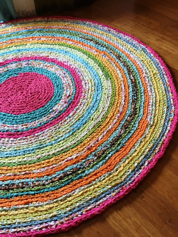 Round Rug Multicolored Memory Rag Rug Recycled T Shirt Yarn