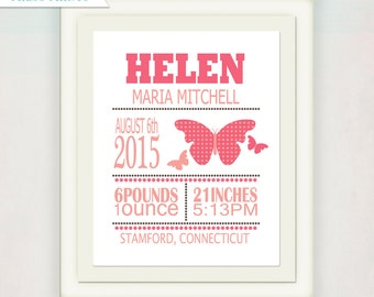 Girl's Birth Announcement // Personalized Custom Butterfly Print with Baby's name // Kid's Nursery Wall Art // Name Poster Art