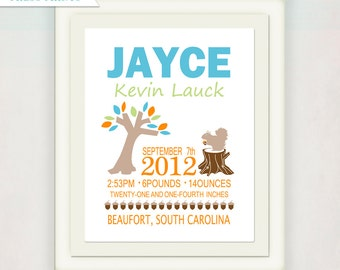 Personalized Boy Wall Art // Birth Announcement Print // Forest Animals // Woodland Creatures // Kid's Nursery // Squirrel and Tree