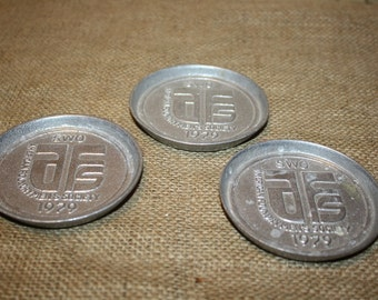Vintage Aluminum Coasters - Set of 3 - American Foundrymen's Society - Reliable Castings - item #1095