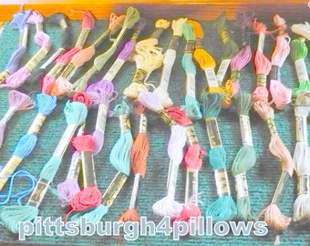100 - Assorted DMC Embroidery Floss/ Thread  -Mostly Full Skiens - Plus Extra Leftover Floss - DMC # 25 - Lot 1
