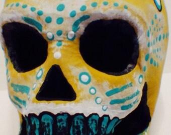 Hand-Painted Sugar Skull-- Dia de los Muertos (Day of the Dead) paper mache skull.