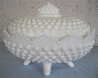 Milk Glass By Fenton / White Hobnail / Vintage Dish With Lid