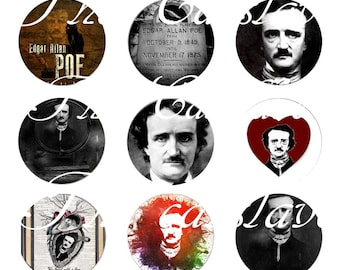 "Edgar Allen Poe magnets, Edgar Allen Poe Pins, Retro Style,  12 Ct. Retro Style, 1"" Inch"