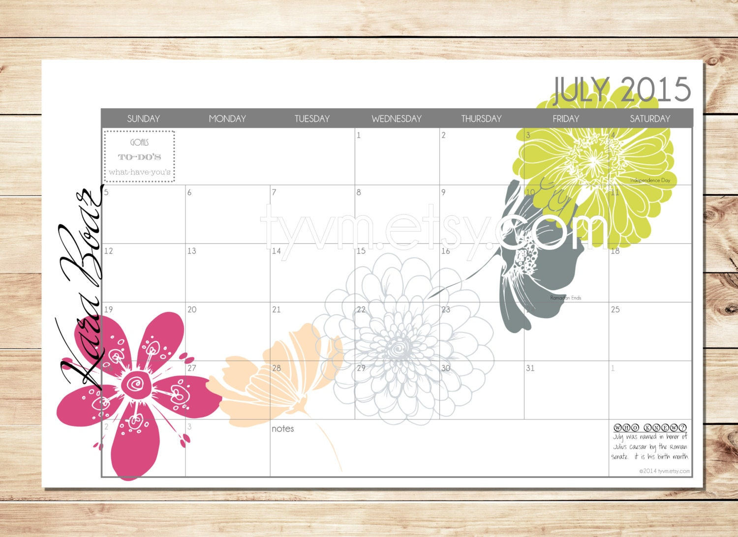 how to make a personalized desk calendar
