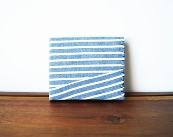 Upcycled Grey and White Striped Cloth Mens Bifold Wallet with Black and Mint Interior
