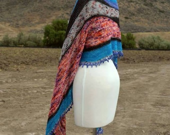 Hand knitted crazy shawl wrap