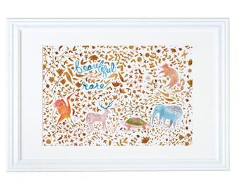 Beautiful but Rare Endangered Animals Children's Art Print
