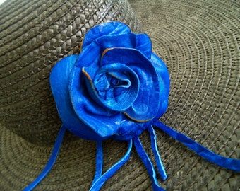 royal blue leather rose hat pin brooch by Tuscada. Ready to ship.