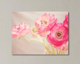 """Ranunculus Canvas Art, Pink Nursery Decor, Floral Canvas Art, Nursery Wall Art, Girls Room Decor, """" Pretty Pink Ranunculus"""""""