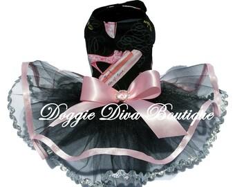 Dog Dress - Dog Tutu Dress - Pink Glitter Shoes XXS - XS - Small - Medium