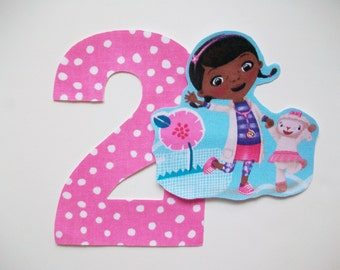 DIY No-Sew - Doc McStuffins Applique and Number - Iron On - Chose Your Number
