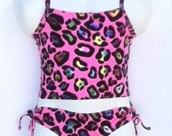 Girl foil pink animal print tankini swimsuit