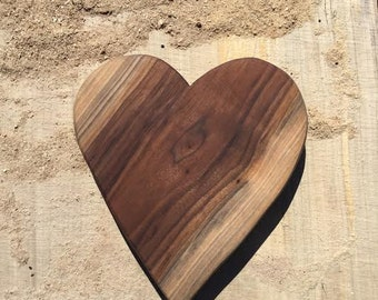 Walnut Footed Platte Heart Shaped Organic Home Decor