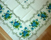 Vintage Linen Cotton Blend Floral Tablecloth - 51 X 68 inches - Blue Roses Design - Made in Poland