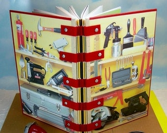 Tool Lovers Hardcover Sketchbook Journal from Yellow and Red Vintage Handyman's Encyclopedia