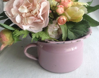 Vintage pink enamel pot. Child's chamber pot