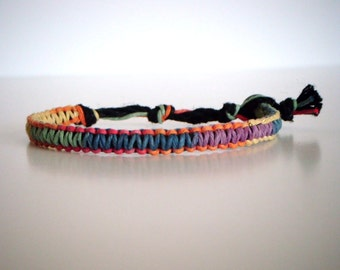 Rainbow Multi-color Hemp Bracelet, Hemp Anklet, Indie Hemp Works, Friendship Bracelet, Love, Hemp Jewelry, Aromatherapy, Hippie, Boho, Pride