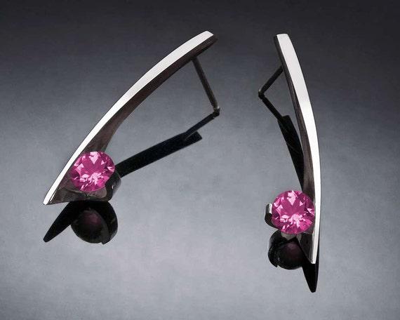 pink topaz earrings, silver earrings, Argentium silver, wedding earrings, modern earrings, artisan earrings - 2458
