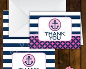 Printable Folded Thank You Note Card Design - Anchor's Away Theme - Hot Pink & Navy Version (INSTANT DOWNLOAD)