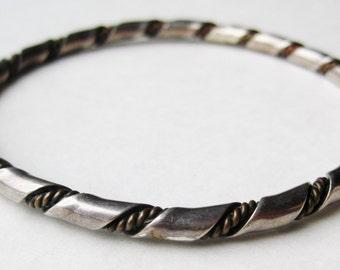 Vintage Sterling Silver Copper Twist Bangle Bracelet