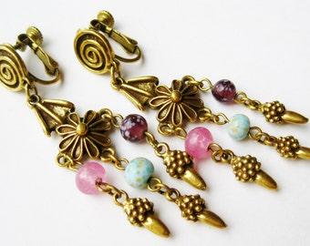 Vintage Bohemian Gold Gypsy Beaded Drop Dangle Clip On Earrings