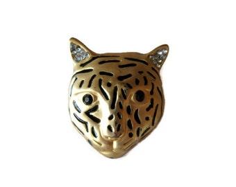 gold tone tiger head brooch, vintage, black enamel, rhinestones