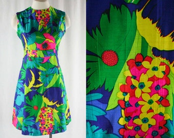 Size 6 Tropical Silk Dress - 1960s Vivid Florals - Emerald Green - Fuchsia Pink - Turquoise - Preppie Tailored 60s Frock - Bust 34.5 - 44073