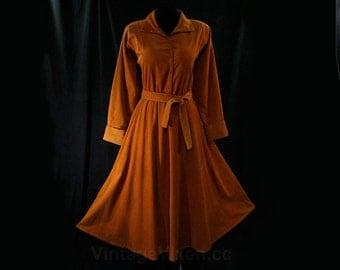 Size Large Norma Kamali Designer Dress - Rust Brown Corduroy ShirtDress - Dramatic Lapel - Full Skirt - Snaps Closure - Waist to 34 - 44651