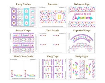 50% Off Sale! - Printable Cupcake Party Package by Daysigns by Day - INSTANT DOWNLOAD