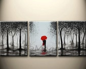 large abstract painting,original acrylic wall art,Made To Order, kissing in rain, black white red,love couple,48x20inch,great wedding gift