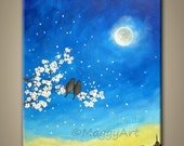 above city night - original modern painting,love birds,24x18inch stretched canvas,great wedding gift