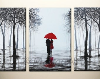 original acrylic painting,72x36 inch walking in rain, black white red,love couple,home decor,wall art,great wedding gift, MADE TO ORDER