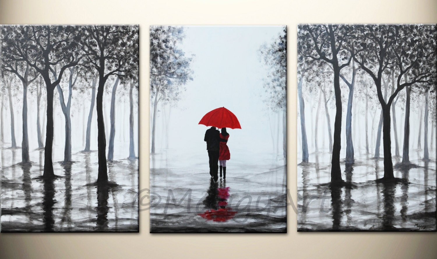 Wall art red umbrella large abstract paintingoriginal for Kitchen colors with white cabinets with red umbrella canvas wall art