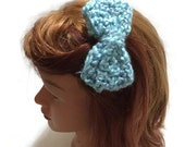 Fuzzy Blue Bow Clip Crochet Bow Hair Clip Sky Blue Hair Accessory