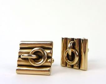 Hickok Cuff Links-Vintage Gold Tone Links Cufflinks Ribs-Interlocking Links- Chain Retro Cuff Links
