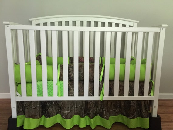 Camo Realtree And Lime Green 4 Pc Crib Bedding Set With Minky