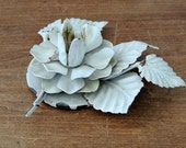 Creamy White Tole Metal Floral Candle Holder