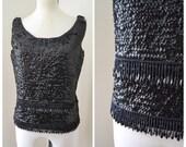 1950s 60s black sequin beaded knit top / 1960s evening top - M