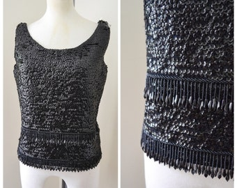 1950s 60s black sequin fringe beaded knit top / 1960s sequinned bead evening top - M