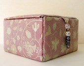 Pink silk decorative jewelry storage box or trinkets box