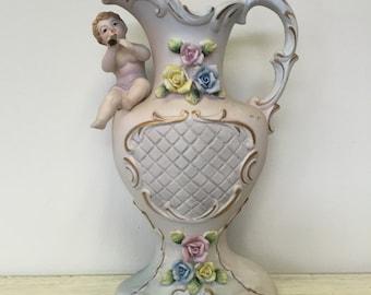 Vintage Ardco Cherub Pitcher - Angel Figurine - White Porcelain with Roses & Musical Baby Boy