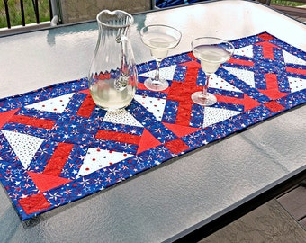 Red White and Blue Stars 4th of July Patriotic Quilted Table Runner