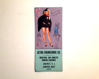 Vintage 1950's Graduation Pin Up Girl Advertising Plotter Card for Aetna Engineering Co. Hanover Boston Massachusetts