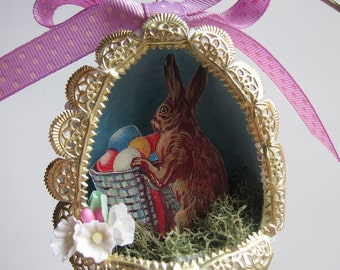 OOAK Easter Egg Diorama Ornament - Vintage Style Papier Mache - Panorama Shadowbox - Sugar Egg Keepsake Decor - Victorian