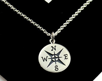 Mens Jewelry - Large Compass Necklace - Sterling, Let your compass be your Guide with your new endeavor - Graduation, Friendship, Journey