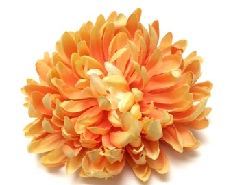 Jumbo YELLOW ORANGE Mum on CLIP - 5.5 Inches - Artificial Flowers, Silk Flower